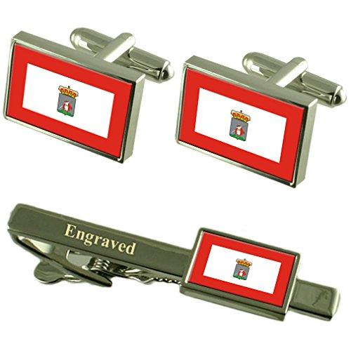 La Ciudad de Gijón, España Bandera Gemelos Grabado Set Clip de Corbata