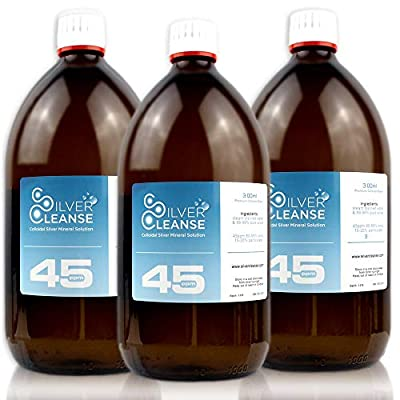 SilverCleanse Colloidal Silver 45ppm Triple Pack (3x 300ml Full Glass Bottles & T/E Cap)