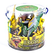 KandyToys 18 Piece Dinosaurs Play Set in Tub – Prehistoric Playset with Toy Dinosaurs and Play Mat