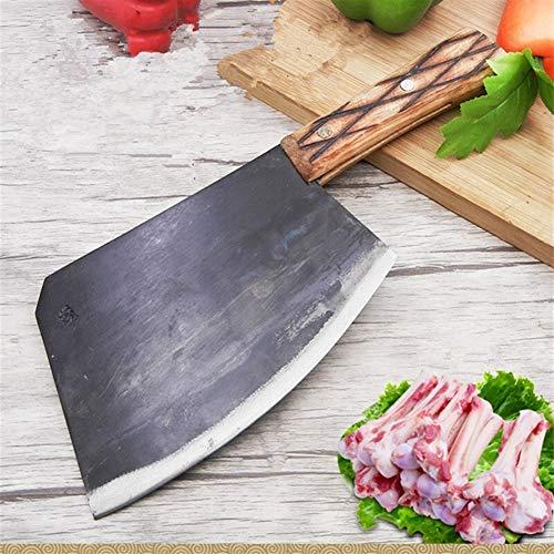 Chino Forjado hecho a mano Cocina Chop hueso cuchillo Cortar el hueso grande de cuchillos de acero al carbono de Sharp cuchillo cocinero leña Hacha cuchillo cocina