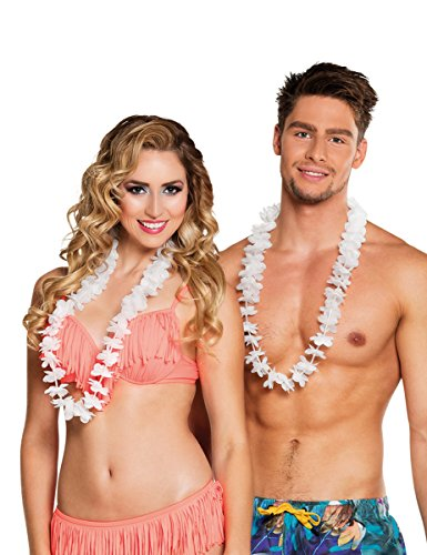 25 Colliers Hawaii blancs - taille - Taille Unique - 306024