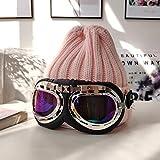 KDIRNVJHD Gafas De Punto Gorro De Lana con Gafas De Sol Sombrero Hombres Y Mujeres Marea De Invierno Otoo Pilot Cap Gorra De Esqu Desmontado Black Mirror S (54-56Cm)