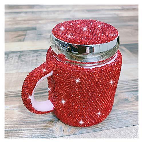 YSJJQSC Taza de Agua Taza espumosa de café con Tapa Taza de Tapa Relación de Larga Distancia Regalos Leche Tazas de Agua Linda envase (Capacity : 400ml, Color : Red)