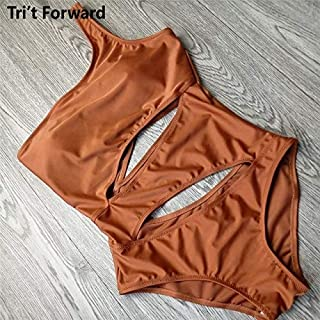 BEESCLOVER Solid One Shoulder One Piece Swimsuit Women Swimwear out Push Up Bathing Suit Swim Wear Swimming Suits Brown S