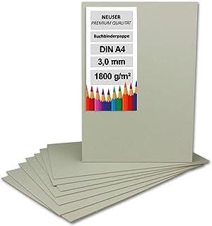 Lot de 100 cartons de reliure DIN A4 (21 x 29,7 cm) – Épaisseur : 3,0 mm (0,3 cm) – Grammage : 1800 g/m² – Carton gris pou...