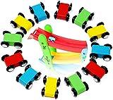 Lewo 12 Piezas Coches de Juguetes Circuito de Coches Madera Autos Juguetes de Pista de Madera Juegos de Coches Rampa de Coche Juguetes de Madera para Niños Pequeños Bebé