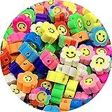 JDSTY 30 unids/Lote de Cuentas sonrientes de 10mm, Cuentas espaciadoras de Arcilla con Forma de Girasol, Cuentas de Arcilla polimérica para Hacer Joyas, Accesorios Hechos a Mano