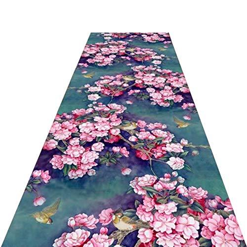 Tappeto Passatoia Corridoio Tappeti Casual da corridoio in Stile Orientale Tradizionale, Tappetino Antiscivolo Lavabile Opzionale Largo 60 cm / 80 cm / 90 cm / 100 cm / 120 cm, Stile Fiore Rosa Rosa