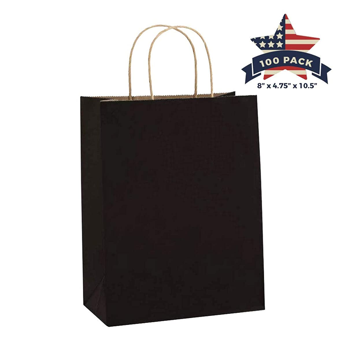 Black Paper Bags with Handles – 100 Pcs 8x4.75x10.5 inches Bulk Gift Bags, Shopping Bags, Party Bags, Favor Bags, Goody Bags, Cub, Business Bags, Kraft Paper Bags, Retail Bags, Merchandise Bags