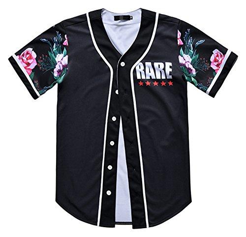 PIZOFF Short Sleeve Arc Bottom 3D ColorFful Flowers Print Baseball Jersey Shirt Y1724-88-S