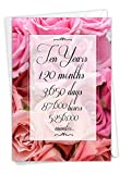 NobleWorks - Beautiful Flower Anniversary Card - Loving Married Couples Notecard, Milestone Years of Marriage - 10 Year Time Count C9087MAG