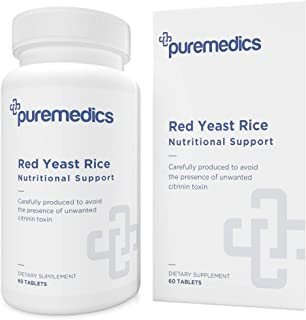 PUREMEDICS Red Yeast Rice 1200 mg. Capsules - Red Rice Yeast to Help Maintain Already Normal Cholesterol Levels - Pharmace...