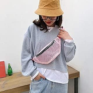 Fashion Single-Shoulder Bags Fashion Mesh Single Shoulder Bag Zipper Messenger Bag Sports Waist Chest Bag (Black) (Color : Pink)