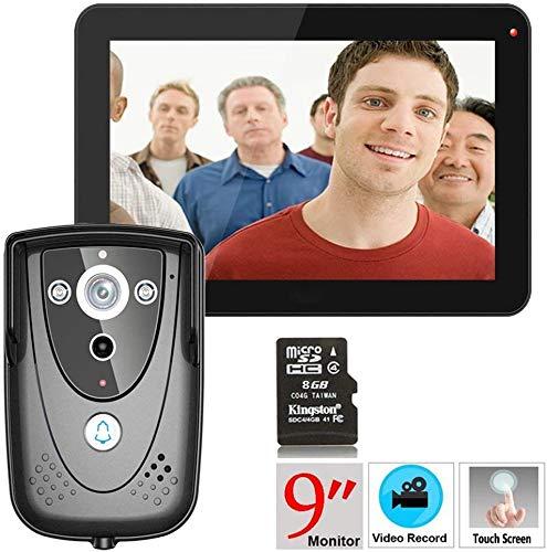 MEETGG GT 9'HD videoportero de intercomunicación Puerta de intercomunicación (cámara de vigilancia 1000TVL, 9' Record Monitor, Tacto, el Disparo a Distancia)