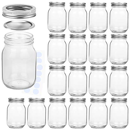 KAMOTA Mason Jars 16 oz With Regular Lids
