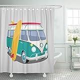 Emvency Duschvorhang Bus Surfer Van Grafik Transport & Surfen Sport Board Camper Wasserdicht Polyester Stoff Set mit Haken, Polyester-Mischgewebe, weiß, 72 x 72 inches