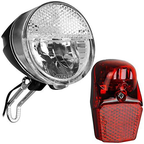 TW24 Fahrrad Dynamo Beleuchtungsset Frontleuchte Rückleuchte StVZO-Zulassung Fahrradbeleuchtung Fahrradlicht Set Fahrradleuchte