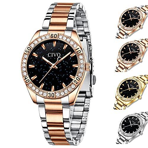 CIVO Relojes Mujer Impermeable Oro Rosa Elegante Reloj de Cuarzo Acero Inoxidable Relojes...