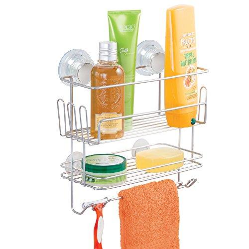 mDesign Dusch Hängeregal – 2 Ebenen Duschablage ohne Bohren – Duschkorb mit Saugnapf und Haken für Shampoo, Waschlappen etc. – silberfarben