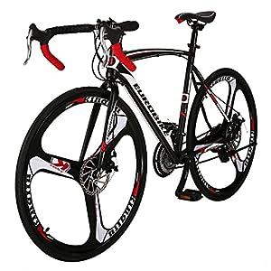 Eurobike Road Bike TSM 550 54 cm Frame 21 Speed Dual Disc Brake 700C 3- Spoke Wheels Bicycle