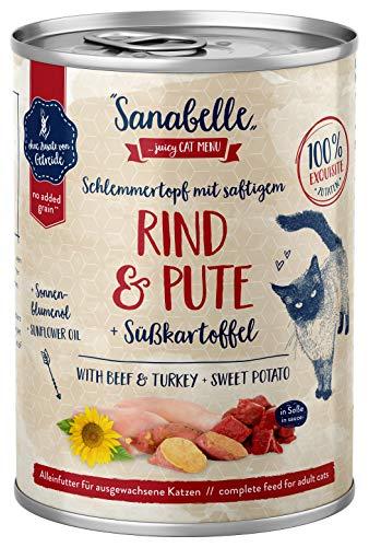 Sanabelle Nassfutter Schlemmertopf mit Rind & Pute, 6 x 380 g, 2.280 Kg