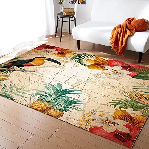 Toucan Flower Fruit Ananas Karte Wohnzimmer Teppiche Home Nachtteppich Sofa und Beistelltisch Bürodecke Bodenmatte-L