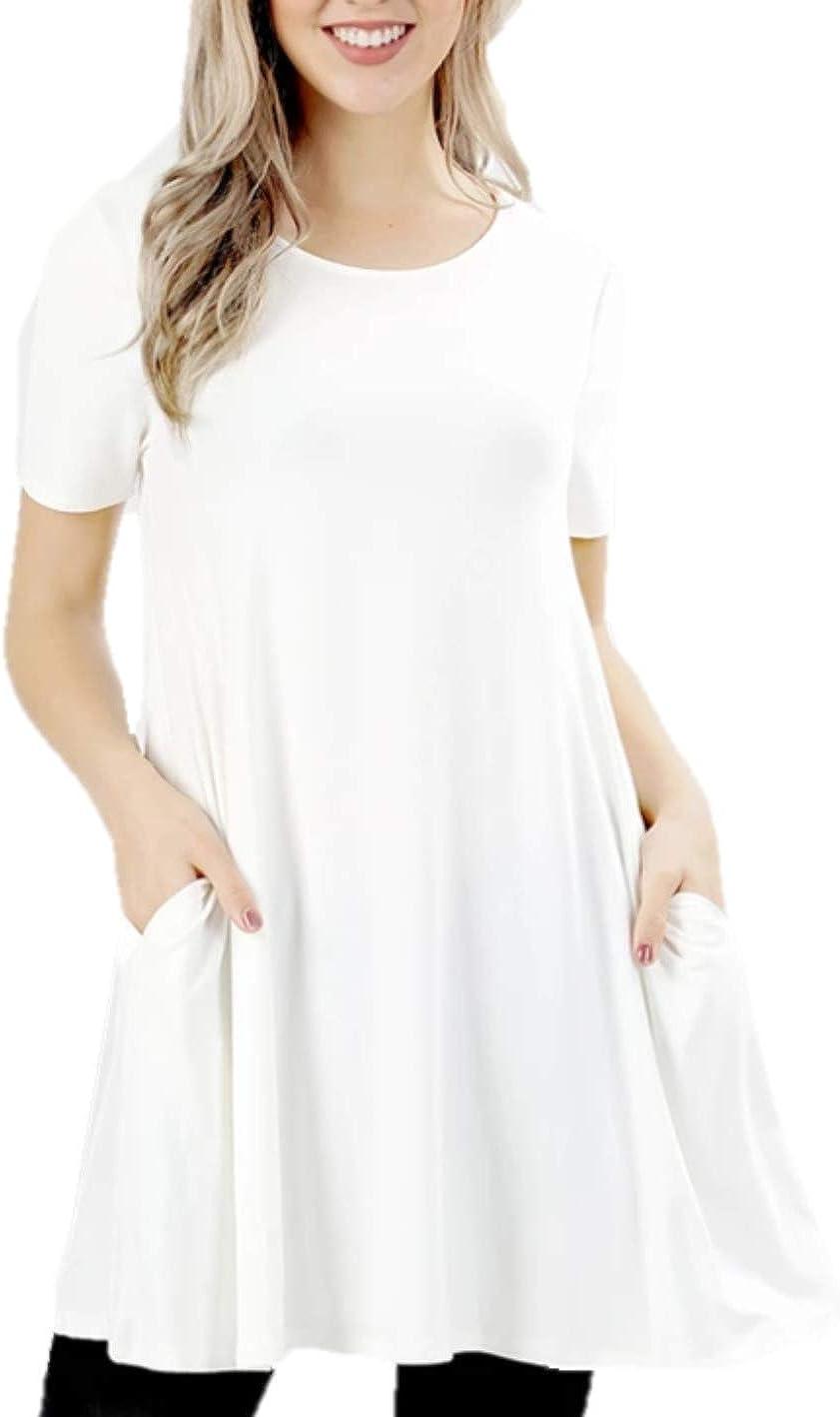 Zenana Women's Flare Tunic Tops Casual Short Sleeve T Shirt Loose Flowy Tunic