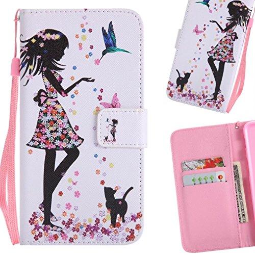 LEMORRY Handyhülle für ZTE Z981 (ZTE Zmax Pro) Hülle Tasche Ledertasche Flip Schutz Magnetisch Schließung SchutzHülle Weich Silikon Cover Schale für ZTE Z981 / ZTE Zmax Pro, Mädchen Blumen