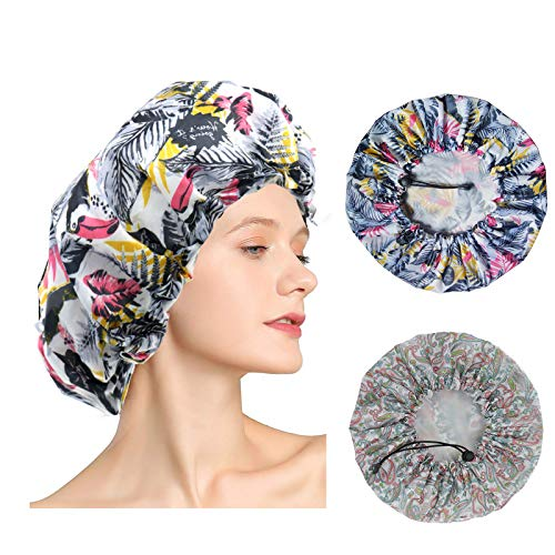 2 Pack Shower Caps, Extra Large & Adjustable & Reusable Shower Cap for Women long Hair, Double Layers Waterproof & EVA Lining Bathing Shower Hat, Oversized Design for All Length Thick Curly Hair