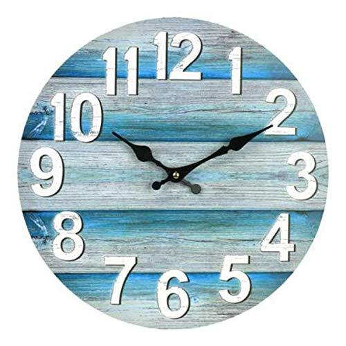 TuToy 13 Inch Wandklok Rond Stille Vintage Beach Ocean Stijl Klok Huiskamer Decoratie