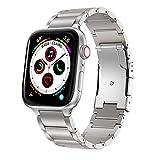 ANBEST Correa Compatible con Apple Watch Correa 44mm Serie 5 Aleación de Titanio de Metal Bandas de Reloj Reemplazo para Apple Watch Series 5/4/3/2/1, Plata 44mm 42mm