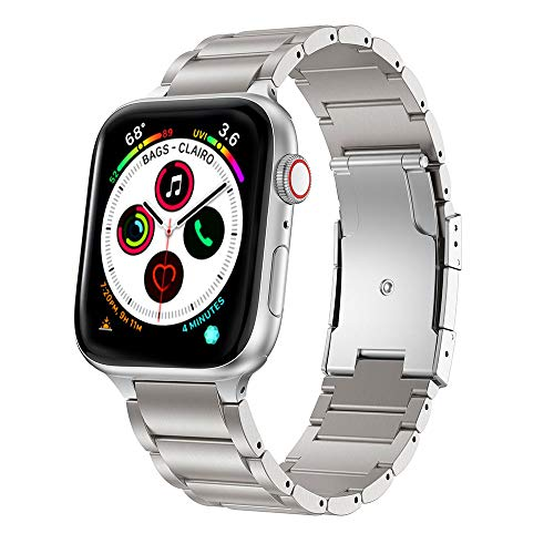 ANBEST Correa Compatible con Apple Watch Correa 44mm Serie 5 Aleación de Titanio de Metal Bandas de Reloj Reemplazo para Apple Watch Series 5/4/3/2/1, Plata 44mm 42mm