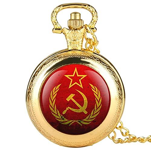 JTWMY URSS Comunismo Insignias Martillo Hoz Cuarzo Reloj de Bolsillo Ruso CCCP Collar Cadena Reloj-Oro