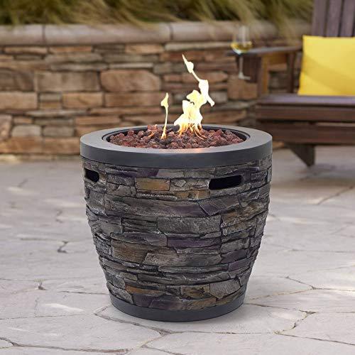 "John Timberland Breckinridge 27"" Round Stone Look Gas Outdoor Fire Pit"