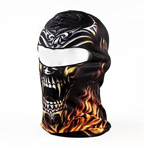 Yeah67886 Masque de moto en forme de crâne de flamme noire 3D pour sports de plein air