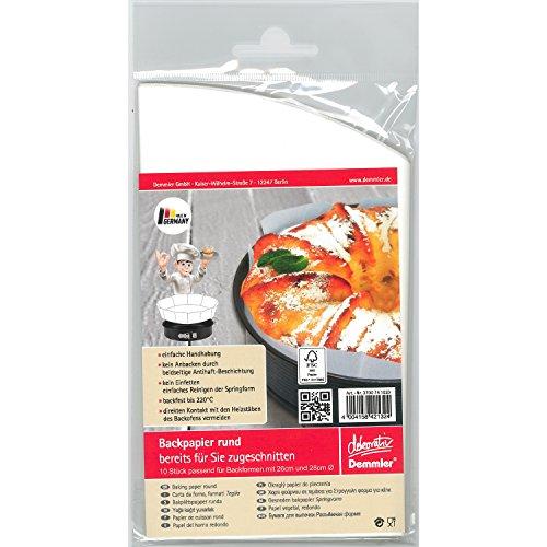 Demmler 3700741020 Backpapier Zuschnitte für Ø 26 & 28 cm Formen, weiß (10er Pack)