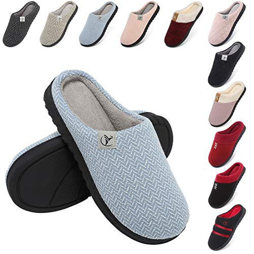 incarpo Zapatillas Casa Mujer Lana de Coral Zapatillas de Estar por Casa Antideslizante Pantuflas de Interior y Exterior Cálido y Confortable Zapatillas-Azul-40/41 EU