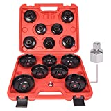 WINMAX TOOLS AUTOMOTIVE 15Pcs Cup Type Oil Filter Cap Wrench Socket Removal Tool Set W/case 3/8' Drive H
