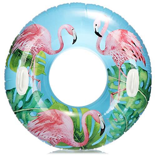 com-four® Schwimmreifen mit Flamingo Motiv - Schwimmring für Badespaß - Wasserring aufblasbar für Kinder und Jugendliche (01 Stück - Flamingo)