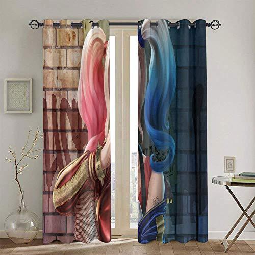 Cortinas opacas con ojales sólidos Harley Quinn para habitaciones de niños, juego de cortinas de 42 x 54 pulgadas