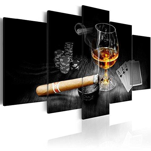 murando - Bilder Alkohol 225x112 cm Vlies Leinwandbild 5 TLG Kunstdruck modern Wandbilder XXL Wanddekoration Design Wand Bild - Alkohol Zigarre Poker Whisky i-A-0101-b-o