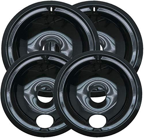 Range Kleen P119204X Style B 4 Pack Round Black Porcelain Drip Pans