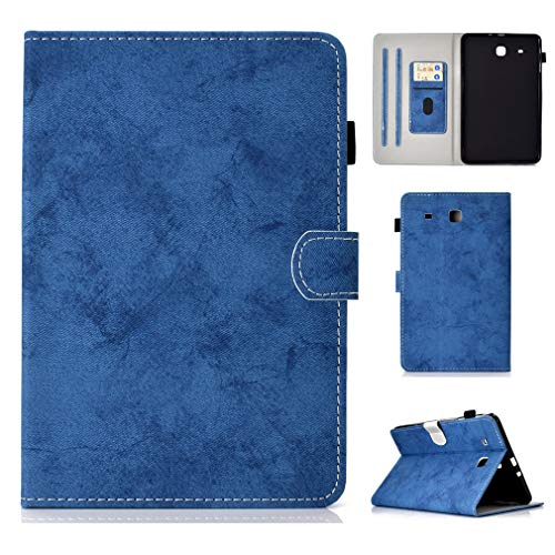 LMFULM Case for Samsung Galaxy Tab E/SM-T560 / T565 (9.6 Inch) PU Magnetic Leather Cover Stent Function Holster Flip Cover for Galaxy Tab E 9.6 Tablet PC Blue