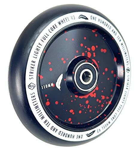 Lighty Striker Stunt Scooter Abec9 Hollowcore Wheel - Rueda de repuesto para niños (110 mm, incluye pegatina Fantic26), color rojo y negro