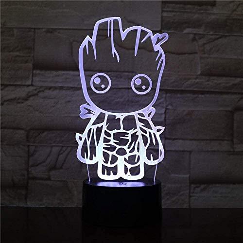3D-Illusion-Lampe, Illusion, 3D-LED, Nachtlicht, bessere Atmosphäre, Elling Film, Schutzfilm der Galaxie, Groot Bestes Geschenk für Jugendliche