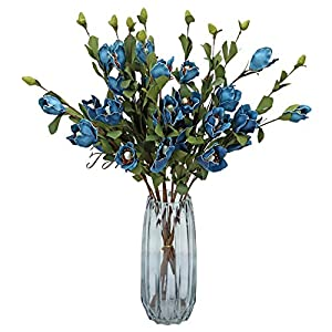 LSME 10 Pcs Artificial Poppy Flower Bouquet with Long Stem for Kitchen Wedding Bridal Bouquet Home Decoration