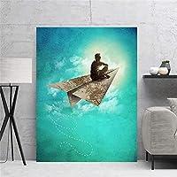 キャンバスプリントTableau壁画無料で飛ぶ壁アートポスター絵画ブルーモダンな家の装飾リビングルーム用モジュラー写真50x70cm-フレームなし