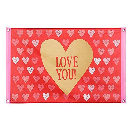 Boland 48001 - Dekorationsfahne Love you!, 1 Stück, Größe 60 x 90 cm, Liebe, Herz, Valentinstag, Flagge, Polyester, Banner, Wanddekoration, Liebeserklärung, Mottoparty, Geburstag