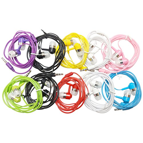 10 Pack EarBud Headphones Bulk (G14), Multi Colors Wired Earphones Wholesale Accessory Compatible With Smart Mobile Phone Computer Laptop PC MP3