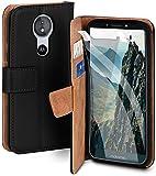 moex Handyhülle für Motorola Moto E5 - Hülle mit Kartenfach, Geldfach & Ständer, Klapphülle, PU Leder Book Hülle & Schutzfolie - Schwarz